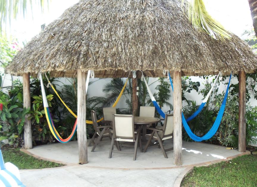 Cozumel rental villa patio and hammocks
