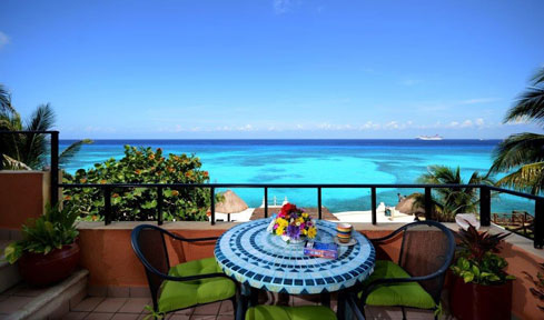 Ocean view from the terrace of Cantamar condo #201, Cozumel, Mexicp