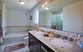 bathroom in Las Brisas 302 oceanfront Cozumel vacation condo