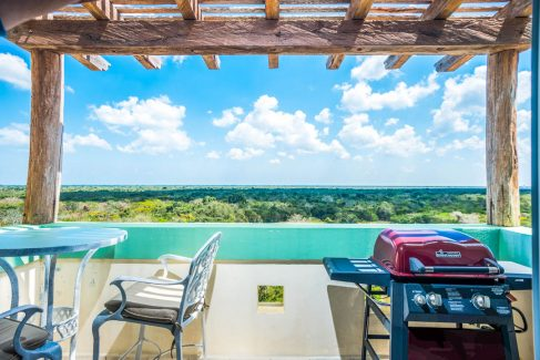 The second terrace faces the jungle in this Cozumel vacation rental condo