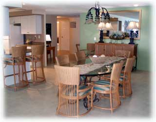 Dining area at Casa Cozumel in El Cantil condo comples