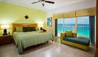 Bedroom in a Cozumel vacation condo for rent