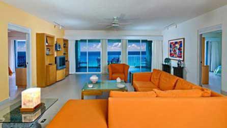 living area at the Cozumel condo vacation rental Las Brisas 301