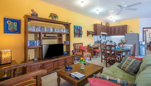Cozumel vacation rental condo living area