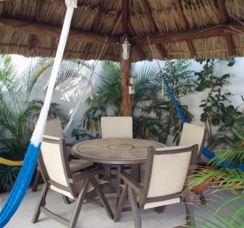 Palapa roofed large patio at Casa Topaz