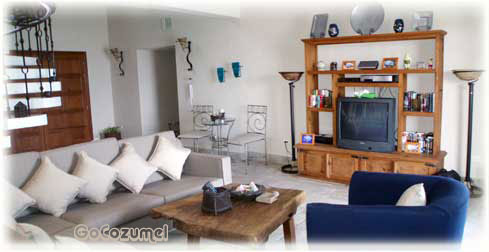 TV at Villa Coronado. Beach area Cozumel vacation rental villa