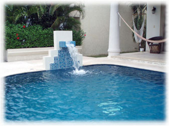 Fountain pouring into the pool