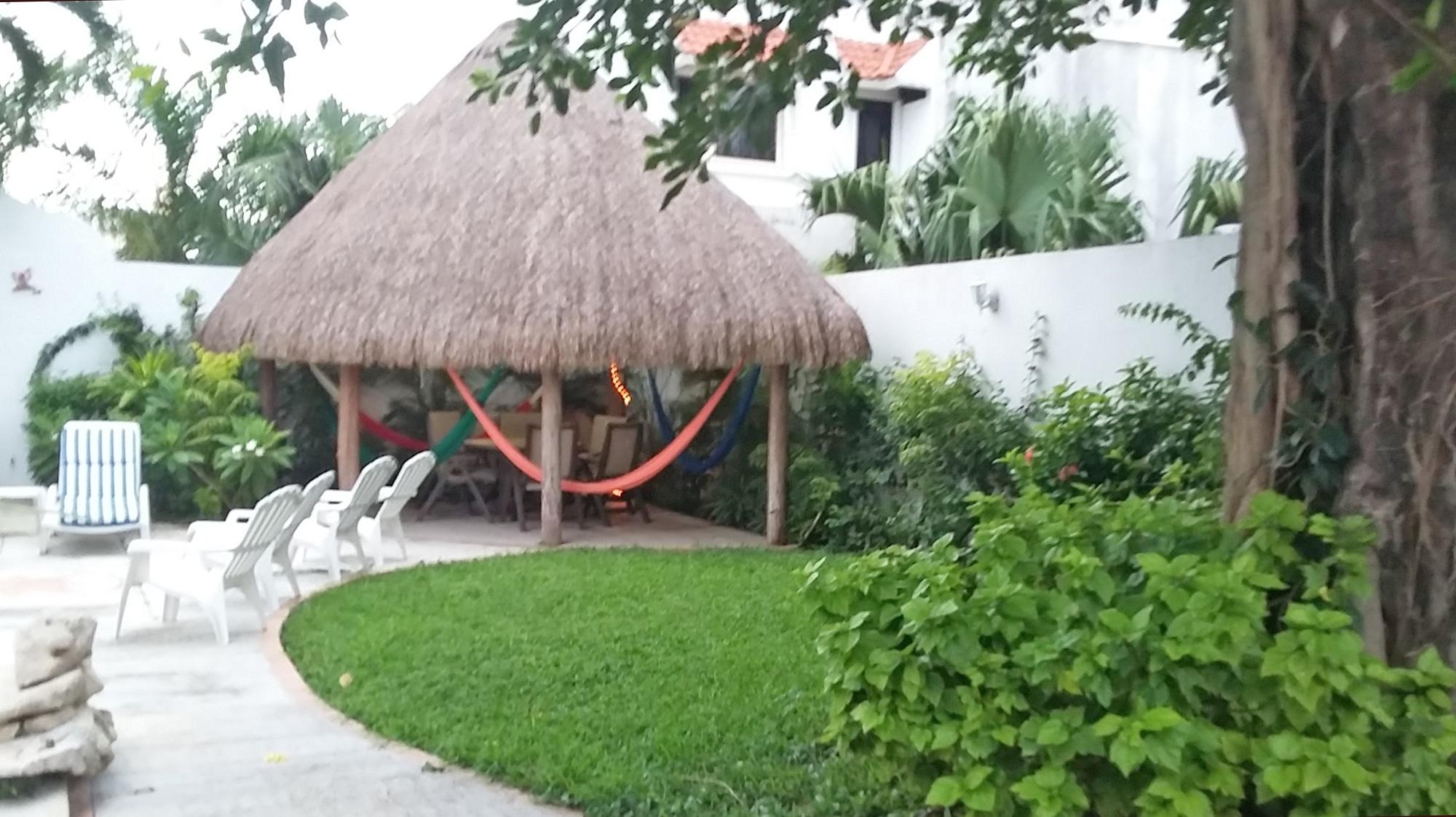 Cozumel villa palapa covered patio