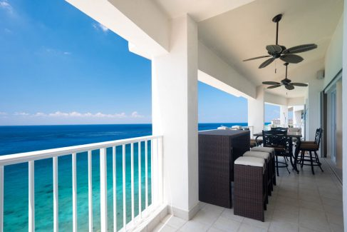 Large terrace and ocean view at Cozumel vacation rental condo Las Brisas 702
