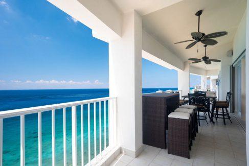 Large terrace and ocean view at Cozumel vacation rental condo Las Brisas 702