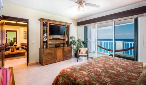 Cozumel beachfront rental condo bedroom with ocean view