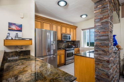Kitchen in the Penthouse at beachfront Cozumel vacation rental condo
