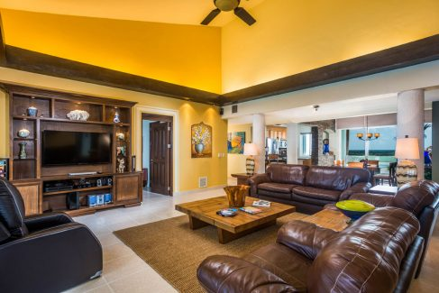 Living area at Las Brisas 702, beachfront Cozumel vacation rental penthouse