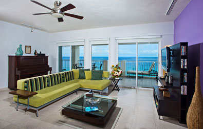 Living room and view from this Cozumel vacation rental condo
