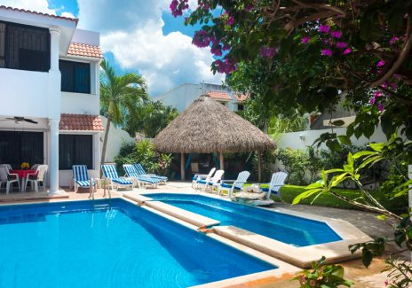 Two-level swimming pool at Casa Topaz, Cozumel rental by owner