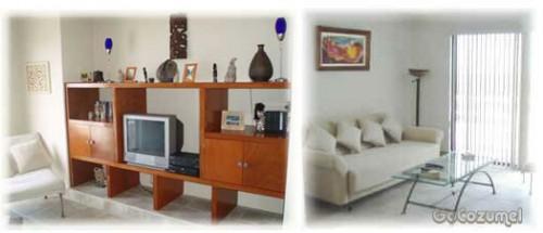 Cozumel beach area villa TV and sofa upstairs