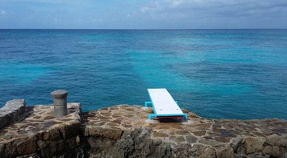 diving board and ocean