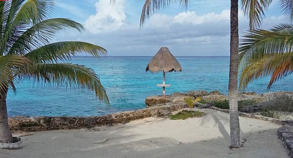 man made sandy beach area and ocean