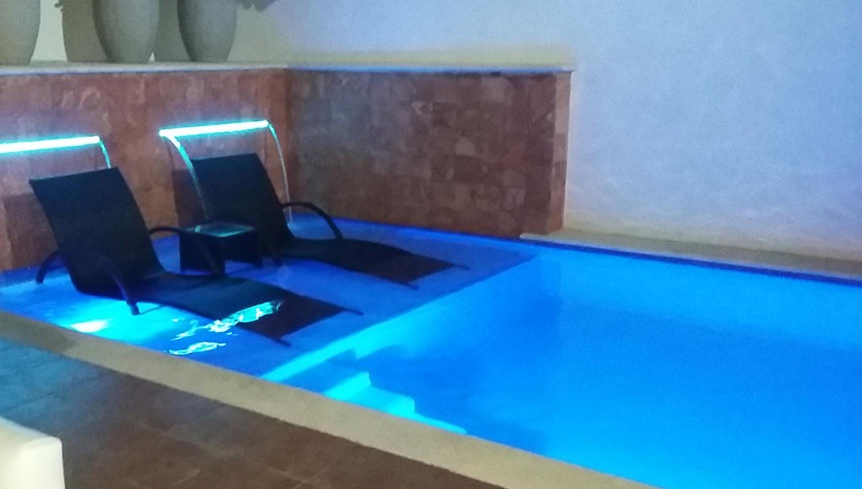 Swimming pool for studios at night