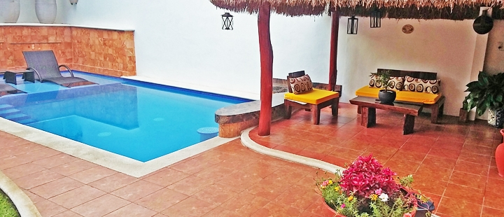 Pool and patio at Cozumel long term rental