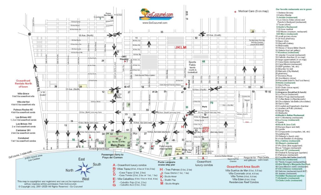Cozumel map of downtown streets - 2020